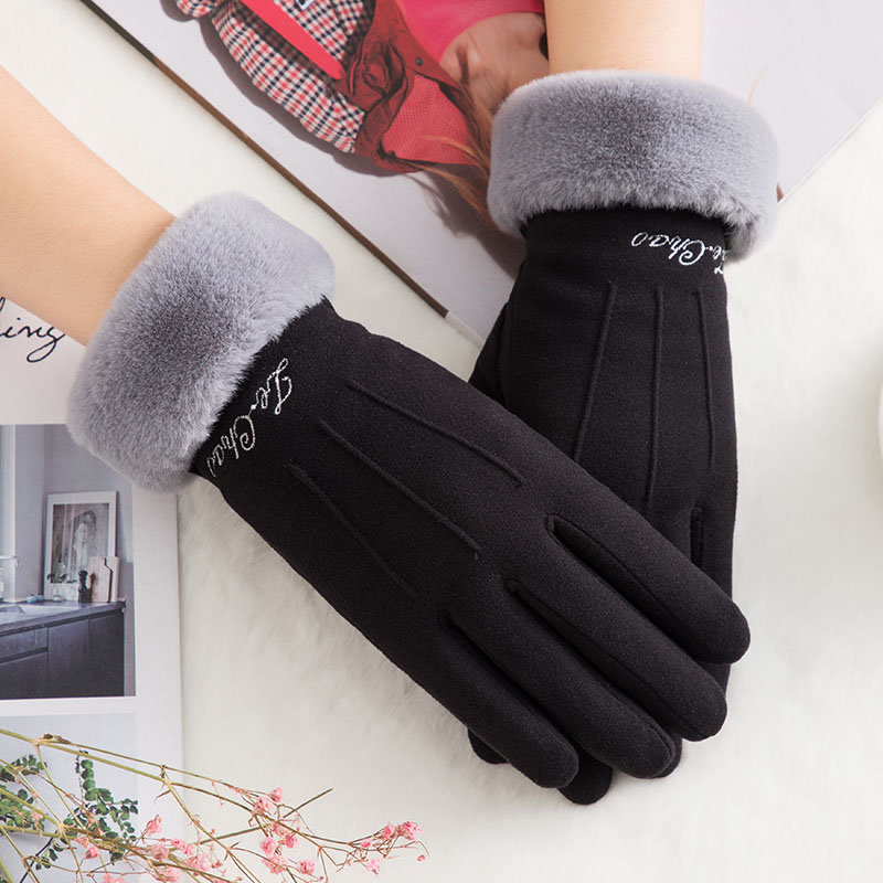 Mittens Thick Winter Warm Cashmere French Romantic Style Touch Screen Five Fingers Driving Gloves Plush Wrist Women Charming