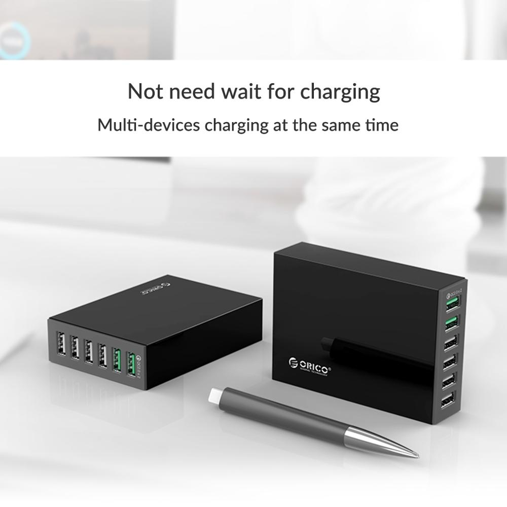 Image 3 - ORICO 6 ports Smart Desktop Charger 4*2.4A ports and 2*QC2.0 Quick USB Charger Mobile Phone Charger for Samsung Huawei iPhoneMobile Phone Chargers   -
