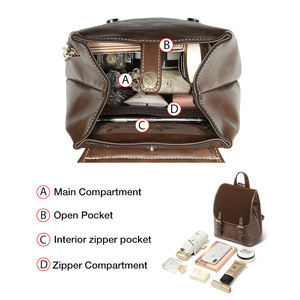 Image 5 - FOXER England Style Lady Backpack Cowhide Leather Retro Women Business Backpack Student Large Capacity School Bag Notebook Bag
