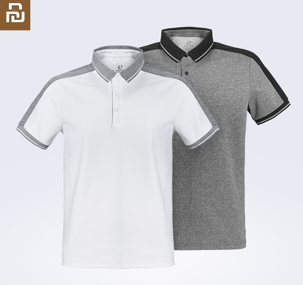 Youpin Fashion Cotton Shirts  Male Function Stitching Short Sleeve Polo Man Casual Skin-friendly Breathable Top Clothes