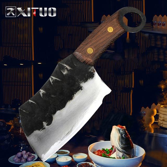 XITUO cuchillo de Chef japonés de alta forja de acero revestido de carbono, cuchillo de Chef Santoku, cuchillo antiadherente Nakiri Cleaver Gyuto Kiritsuke