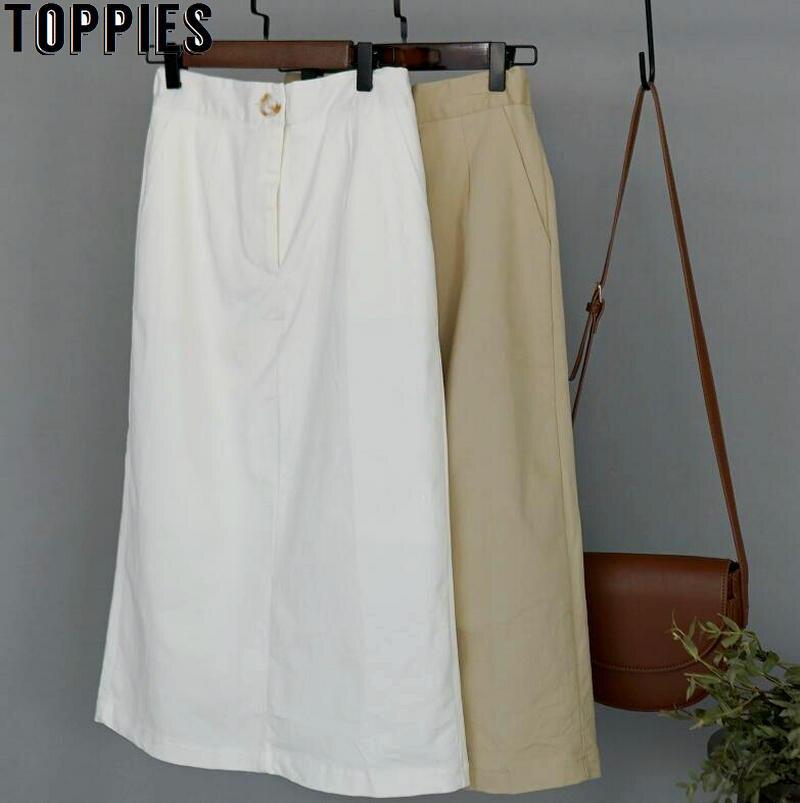 Toppies Summer White Cotton Midi Skirts High Waist Straight Skirts Womens Elastic Waist Faldas Korean Clothings
