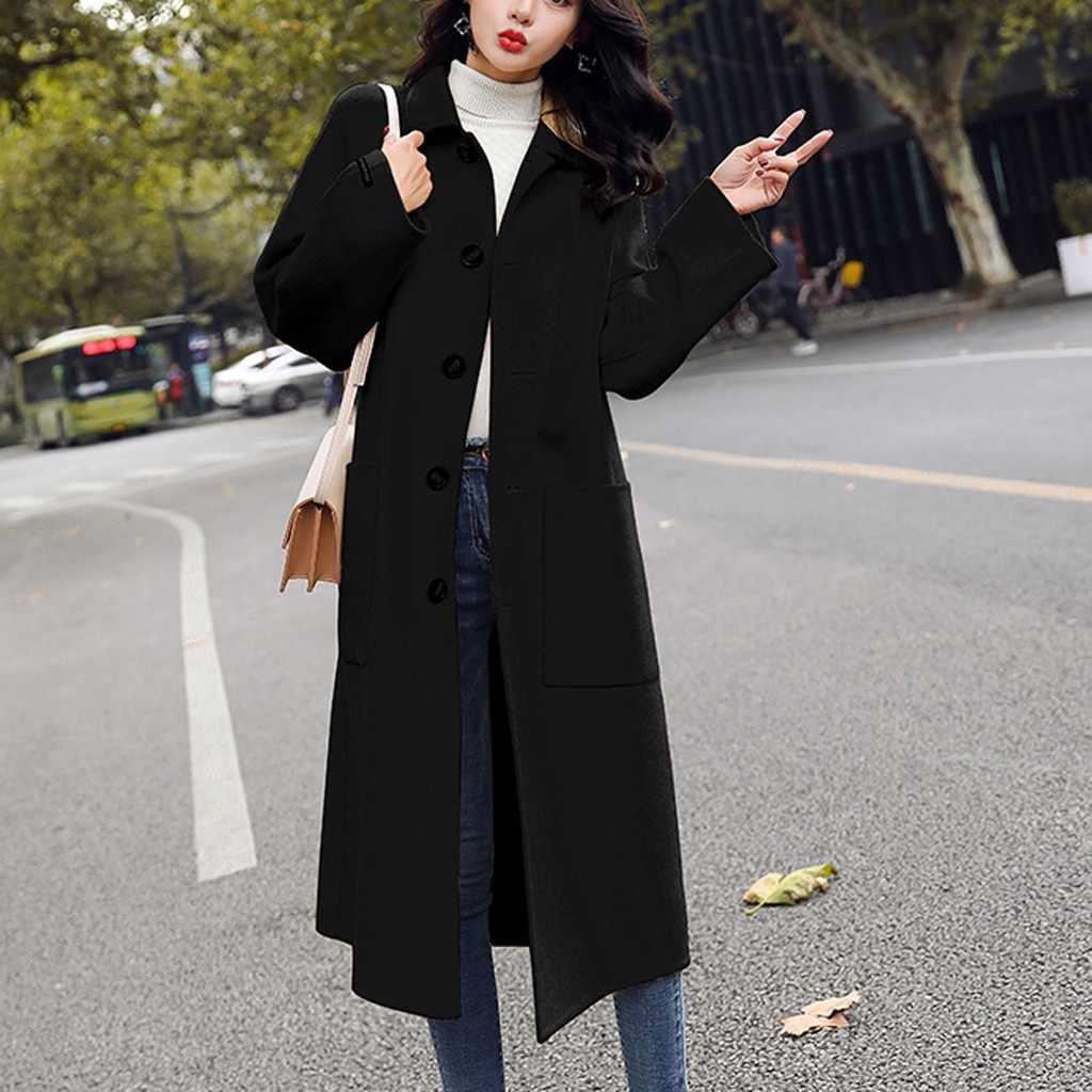 JAYCOSIN 2019 mùa thu đông áo khoác len nữ Dài Phong Cách Hàn Quốc nữ Đồng Màu Áo Khoác Ngoài Lỏng Lẻo Áo Khoác len áo khoác 909W