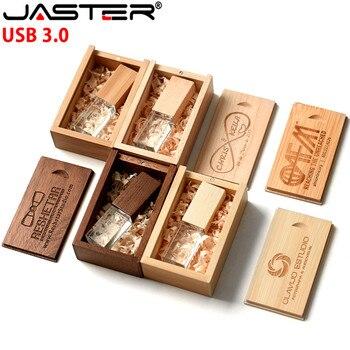 Crystal Wooden Box USB 3.0 Flash Drive 4GB 8GB 16GB 32GB 64GB 128GB Photography Gifts Pen Drives Custom LOGO Memory Stick U Disk