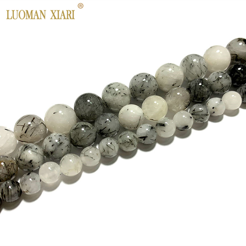 Fine AAA 100% Natural Black Rutilated Quartz Round Stone Beads For Jewelry Making DIY Bracelet Necklace 6/8/10 mm Strand 15''