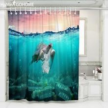 Blue Sea Turtle Shower Curtain 3D Bathroom Decoration Bath Curtains Waterproof Mildewproof Fabric 8 Size