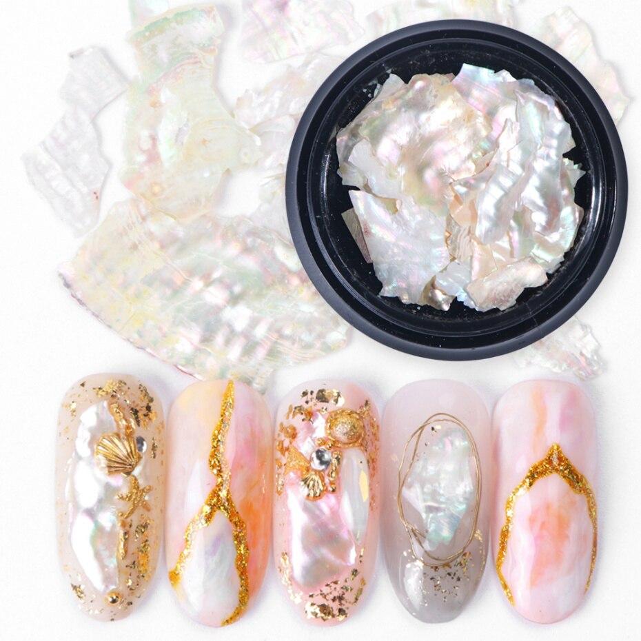 262 1 Caja De Decoraciones De Uñas 3d Concha De Perlas De Abulón Brillante Rebanada Escamas Piedras Para Diseño Artístico De Uñas Encantos