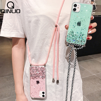 Bling Glitter cekiny wyczyść Case dla iPhone 11 Pro Max 12 XS SE 2020 X XR 8 7 6 S Plus miękka TPU pokrywa + pasek na ramię smycz liny tanie i dobre opinie QINUO CN (pochodzenie) Luxury Stars Transparent Silicone woman iPhone11 11Pro SE2 Hang Neck Urządzenia iPhone Apple IPHONE XR