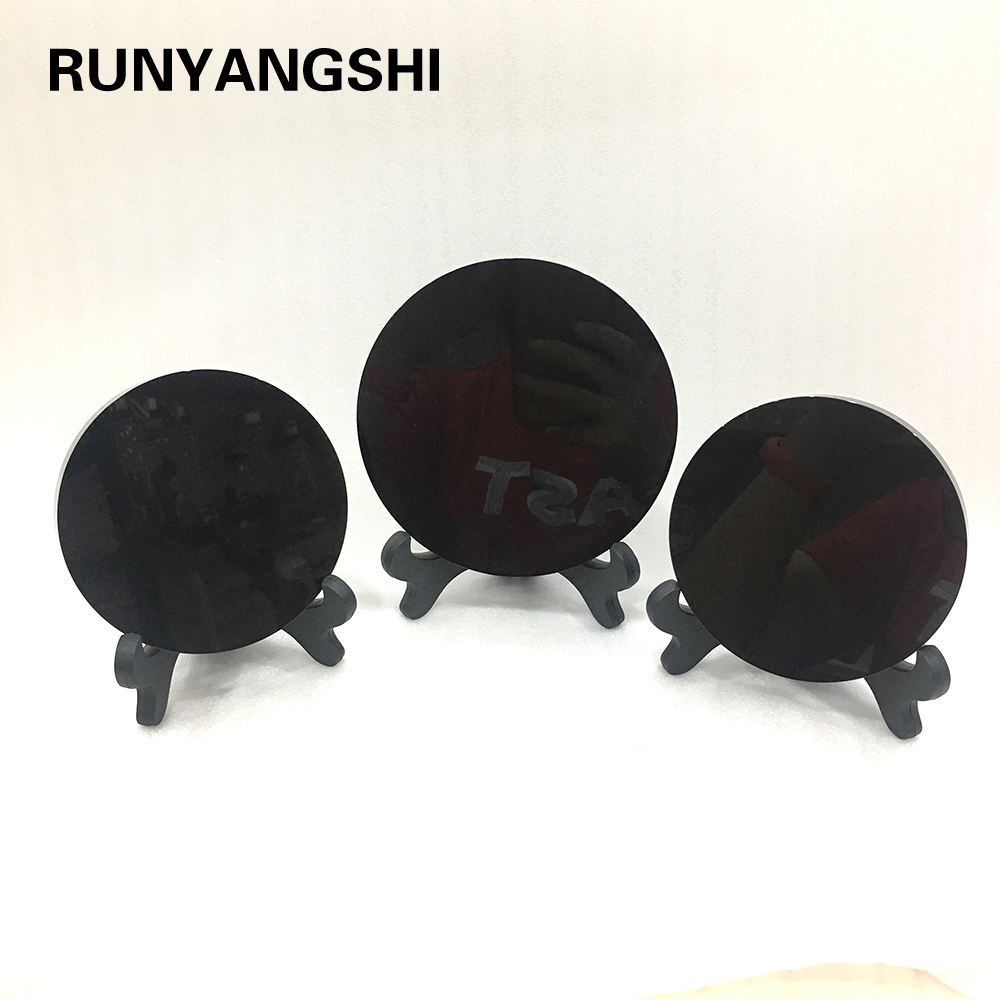 Runyangshi  100% Natural Black Obsidian Stone Circle Disk Round Plate Fengshui Mirror For Home Office Decor