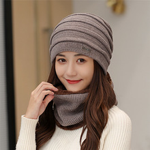цена на 2018 Thicken Winter Hats Scarf For Women Knitted Beanies Hat Hip Hop Caps Men Solid Hat Unisex Hat Beanie Warm Ring Scarf