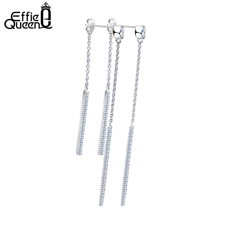 Effie Queen Elegant Silver Color Drop Earring With AAA Cubic Zirconia for Wedding Party Jewelry Drop Line Long Earrings DE136 in Drop Earrings from Jewelry Accessories