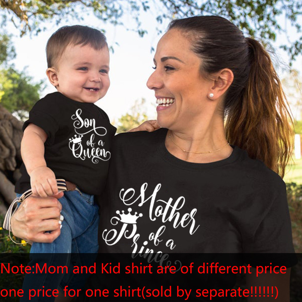 1pcs Son of Queen Mother of A Prince Mommy and Son Shirts Mommy and Kid Baby Boy Matching Tshirts Summer Matching Family TShirts