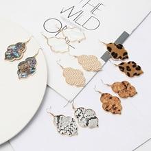 Модные леопардовые серьги в виде шестиугольника с камнем золотого цвета, Висячие Серьги Brincos Pendientes, брендовые ювелирные изделия для женщин