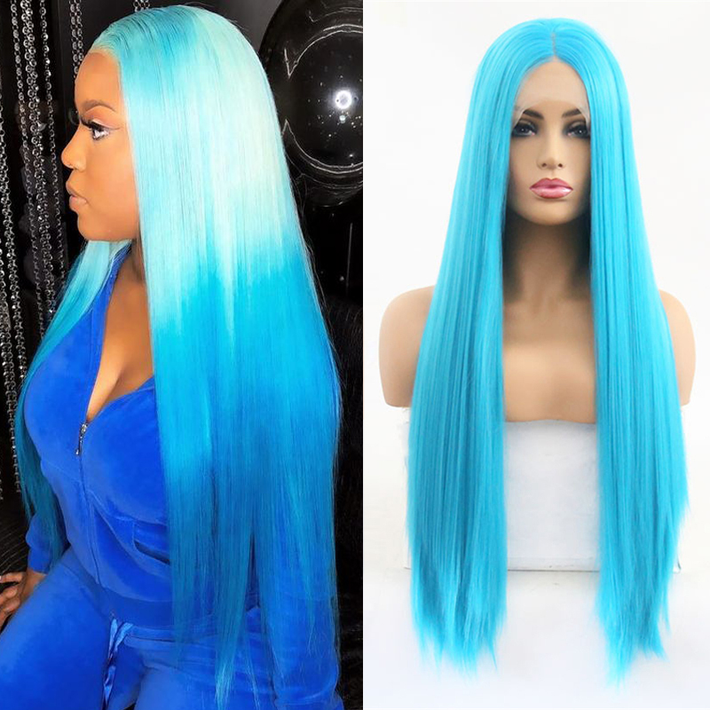 RONGDUOYI High Temperature Glueless Blue Wig Long Silky Straight Wigs Synthetic Lace Front Wig Middle Part Lace Wigs For Women
