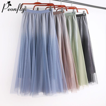 PEONFLY Shinny Tulle Skirts Women Midi Pleated Skirts Blue Pink Skirts Women 2020 Spring Korean High Waist Mesh Tutu Skirts фото