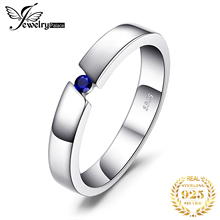 JewelryPalace 0.04ct Created Sapphire Anniversary Solitaire Ring 925 Sterling Silver Fine Jewelry For Women Gift Lovers