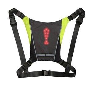 Image 4 - サイクリングled信号vest自転車安全ワイヤレスターン信号光を実行している照明ベスト安全反射警告ベスト