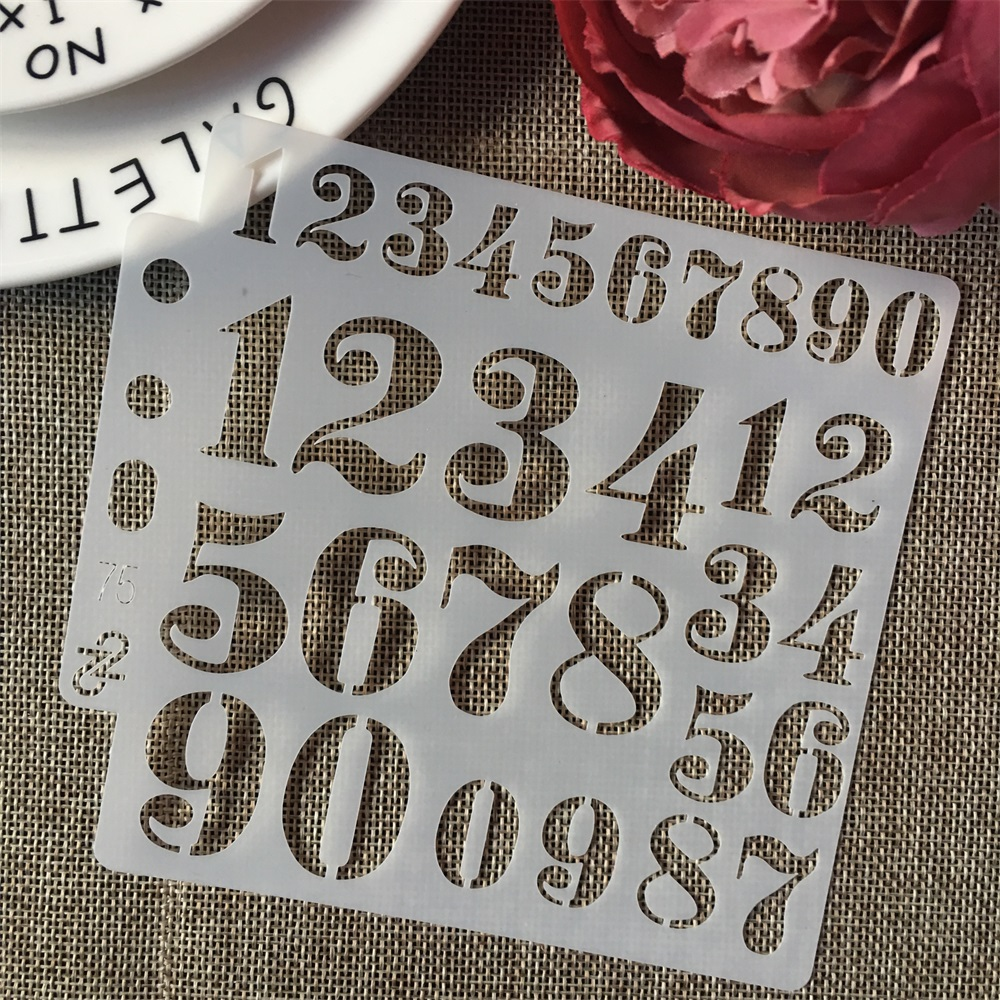 5inch Number Digit 0-9 Practice DIY Layering Stencils Painting Scrapbook Coloring Embossing Album Decorative Card Template