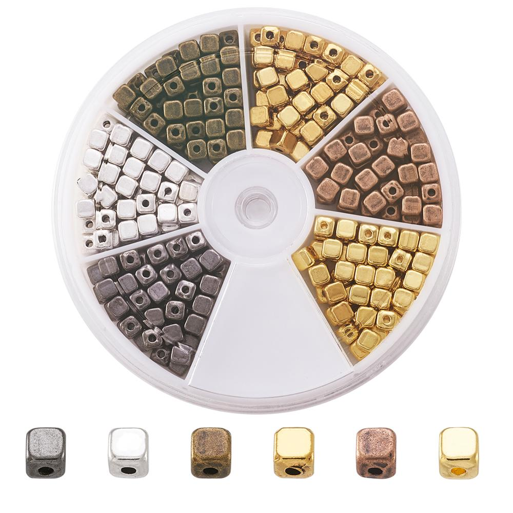 Pandahall 1Box//324pcs Cube Alloy 6 Color Tibetan Silver Spacer Beads 4x4x4mm for Jewelry Makings Antique Golden//Antique Bronze//Red Copper//Antique Silver//Golden//Gunmetal