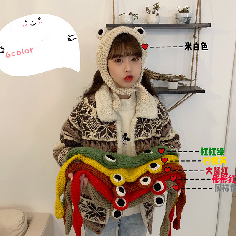 Winter Skullies Cute Women Frog Hat Crochet Knitted Hat Costume Beanie Hats Cap Women Gift Hip hop Cap Photography Prop Party