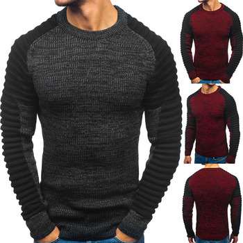 цена на Brand Round Neck Raglan Sleeves Stripes Pleated Color Matching Men Sweater Pullover Sweater Hip Hop Street Mens Sweater