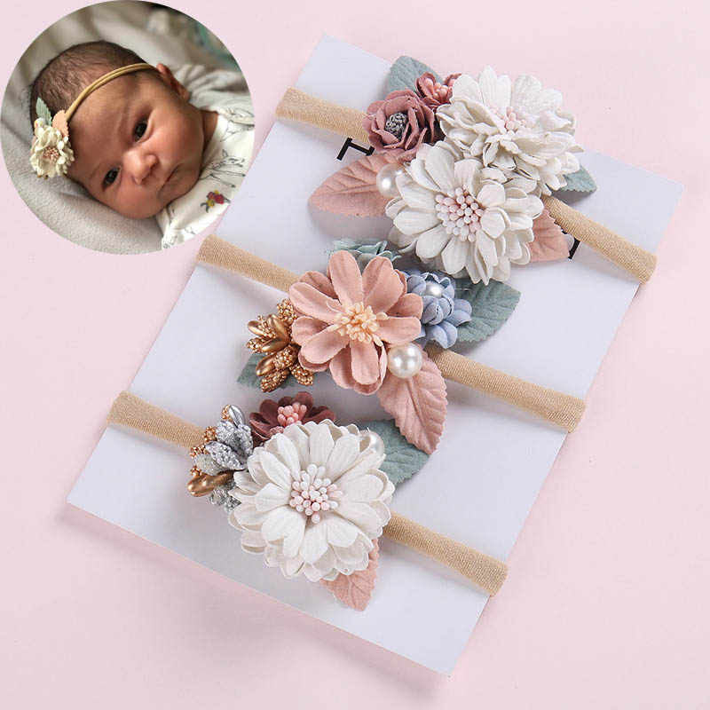 Floral Baby Girl Headbands Newborn Baby Elastic Princess Hairbands Kids Pearl Flower Fresh Style Cute Hair Accessories