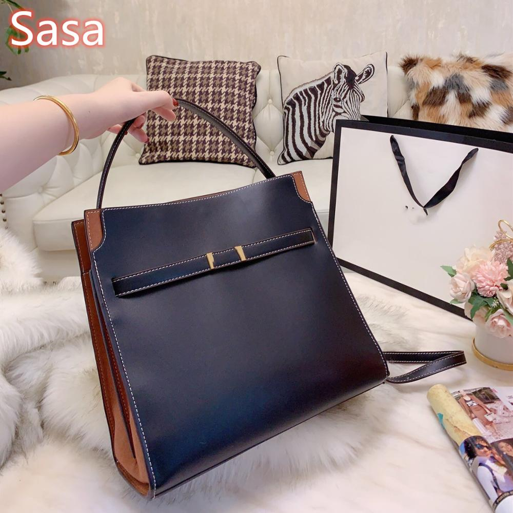 Sasa Hight quality cowhide leather bags for ladies Briefcase totes for ladies retro design luxury brand  bags bucket handbags