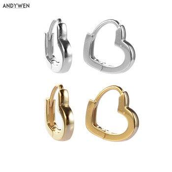 ANDYWEN, pendientes sencillos de Plata de Ley 925 de 8mm con forma de corazón, Mini Piercing pequeño de Huggies para mujer, joyería Punk de moda 2020
