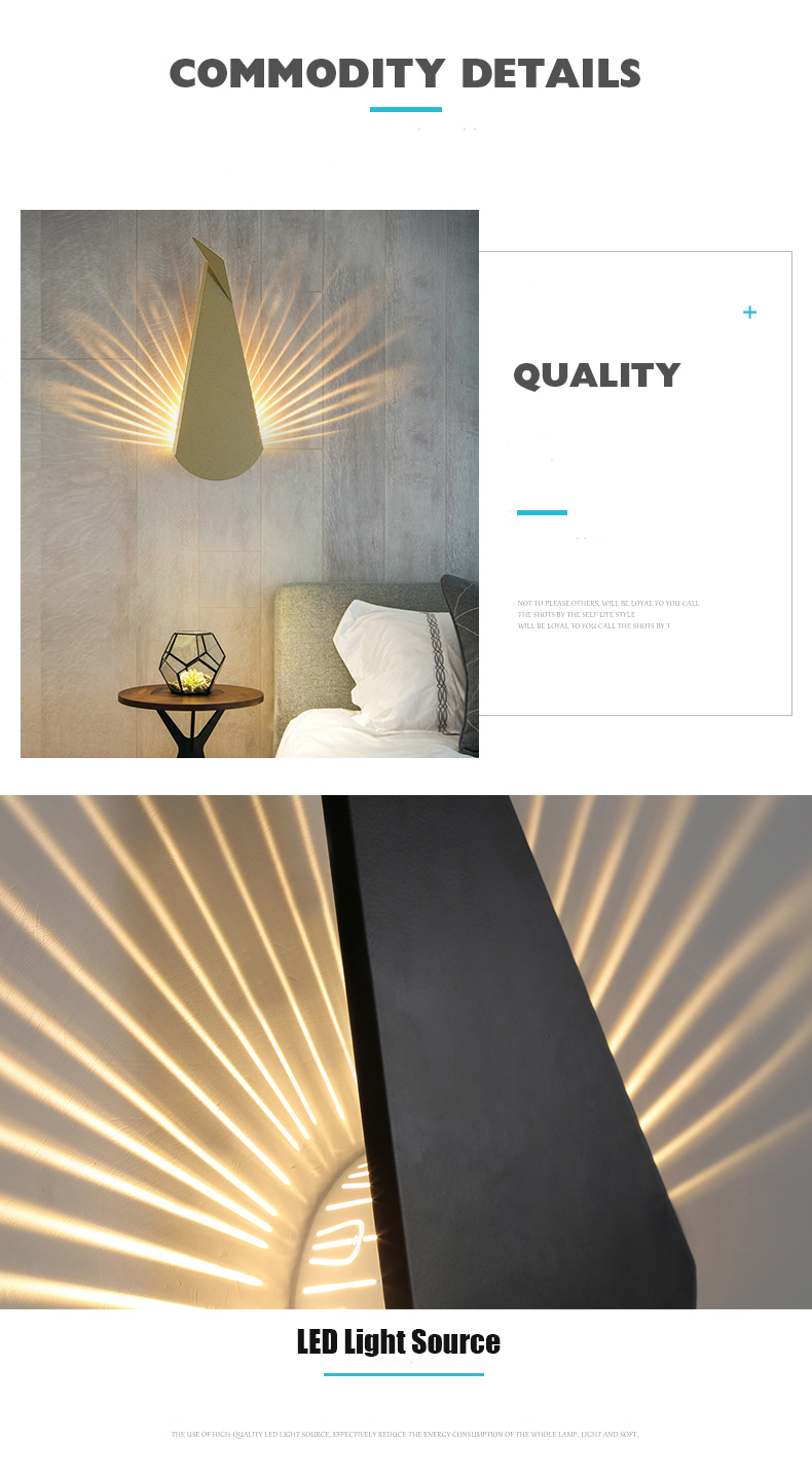 H371a08c3cab741a28bd9e9d168769192L - Modern Peacock Tail Wall Lamp Indoor Lighting Led Wall Light for Home Bedroom Study Hallway Corridor Wall Sconce Light Fixtures