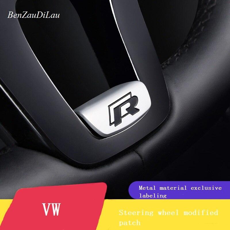 Car Steering Wheel Decoration R Logo Metal Sticker For Volkswagen Golf 7 Jialv Magotan B8 Passat Lingdu