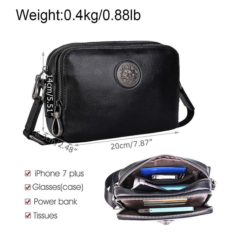 Black Men's Leather Small Shoulder Bag Chest Bag Crossbody Bag Phone Pouch Purse