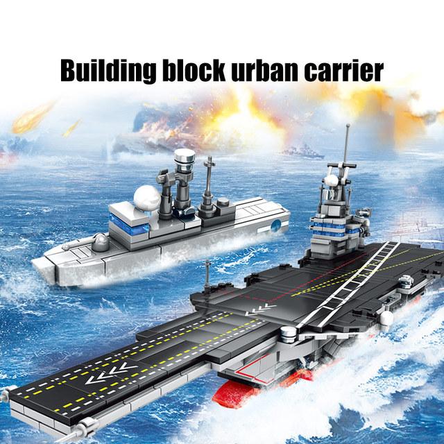 SEMBO 716pcs City Police WW2 Aircraft Carrier Building Blocks for Military Navy Submarine Technic Boat Bricks Toys For Boys