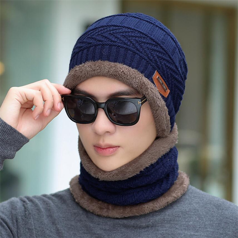 Winter Men Hat And Scarf Man Warm Knitted Plush Hat 2 Peice Set 2019 Male Beanies Cap With Ring Scarves Solid Adult Accessories