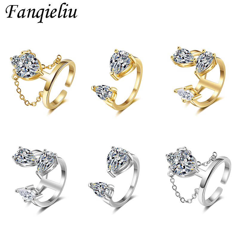 Fanqieliu Adjustable Crystal Gold Rings Solid 925 Sterling Silver Ring For Women Trendy Jewelry Wedding Bands Cuff Ring FQL20378
