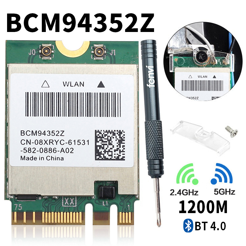 Dual Band BCM94352Z 867Mbps 5Ghz Bluetooth 4.0 802.11ac NGFF M.2 WiFi WLAN Card DW1560 For Laptop Windows Mac Hakintosh