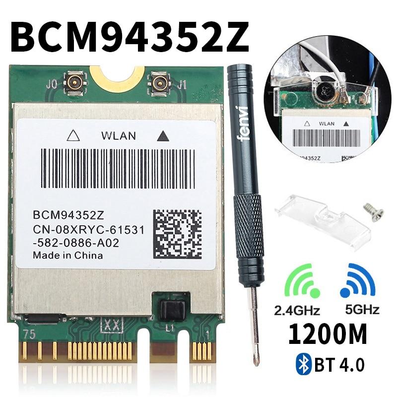 Dual Band BCM94352Z 867Mbps 5Ghz Bluetooth 4.0 802.11ac NGFF M.2 WiFi WLAN Card DW1560 For Laptop Windows Mac Hakintosh