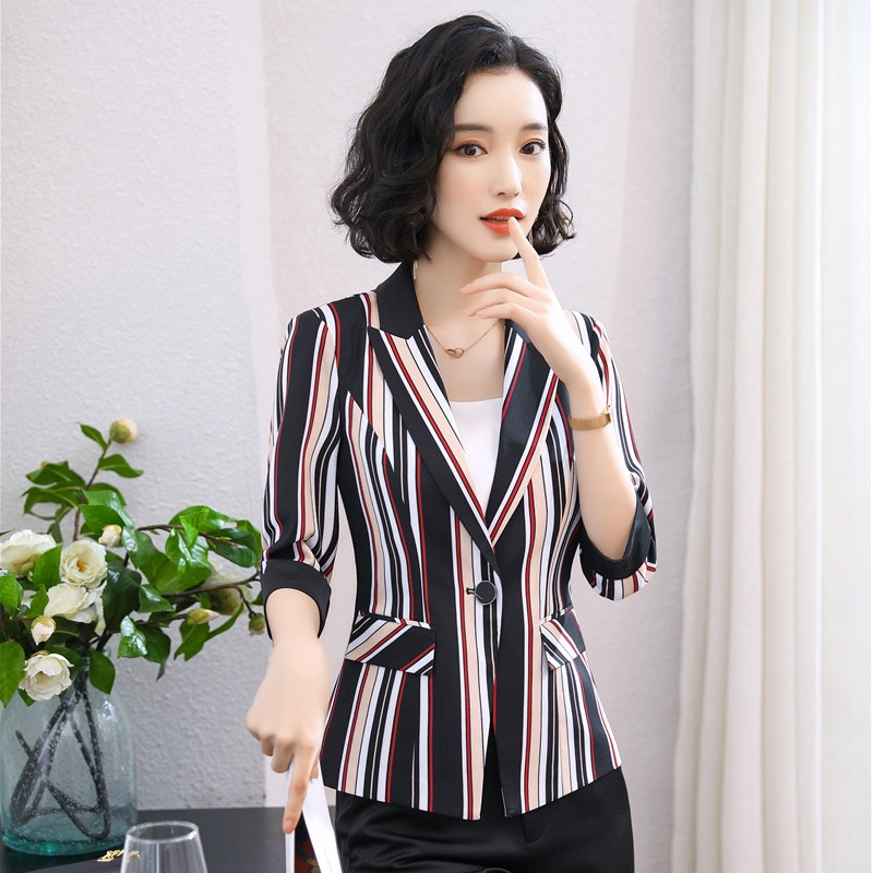 Formal Business Blazers And Jackets Coat Half Sleeve Fashion Striped Women Ladies Office Work Wear Female Tops Outwear Clothes