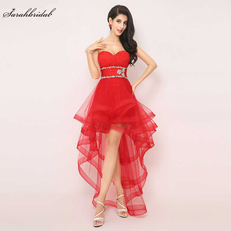 In Voorraad Hoge Lage Sexy Red Prom Dresses Sweetheart Tulle Formele Party Gown Lace-up Kralen Taille Plooi Real foto Goedkope AJ014