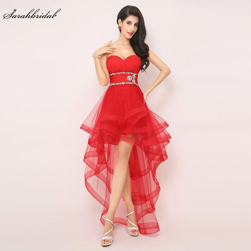 Vestidos de Baile Rendas até Frisado em Estoque Alta Baixa Sexy Vermelho Querida Tule Plissado Imagem Real Barato Noite Formal Festa Vestido Aj014