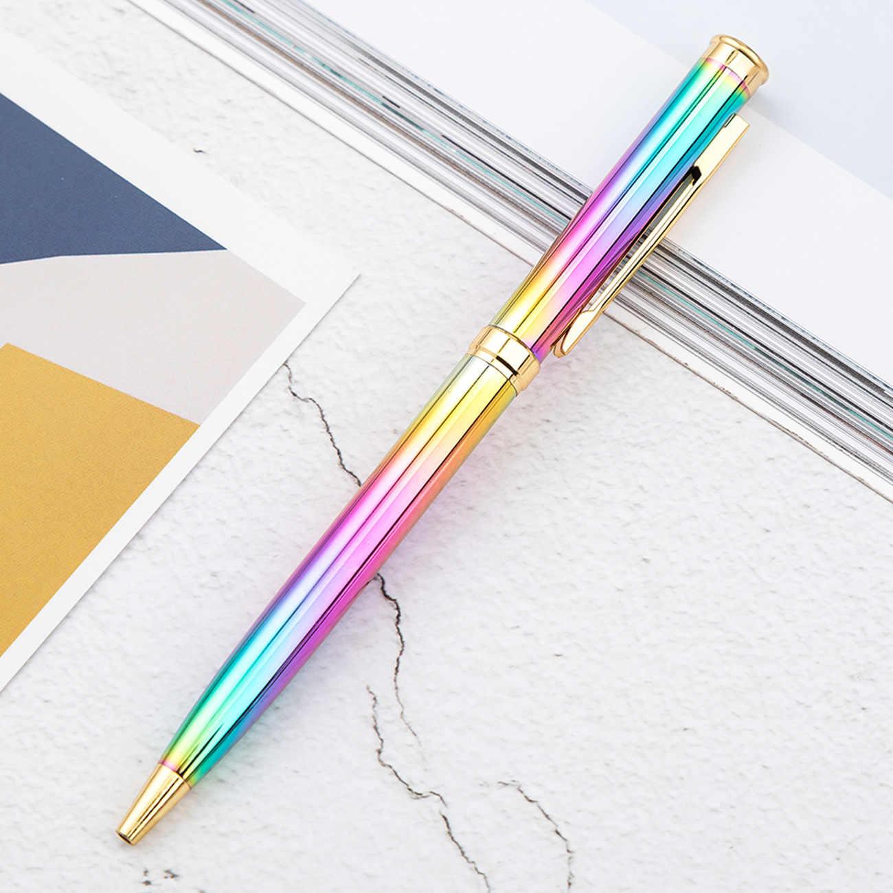 1Pcs 무지개 다채로운 펜 금속 볼펜 총알 1.0mm 펜촉 리필 사무실 쓰기 펜 롤러 볼 펜 사무실 학교 용품