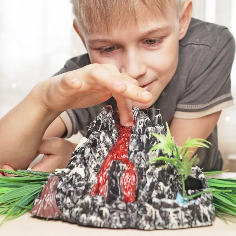 Spray Volcano Model With Light Simulation Scene Experiment Voice And Light Action Toy Figure Dinosaur World Toys For Children