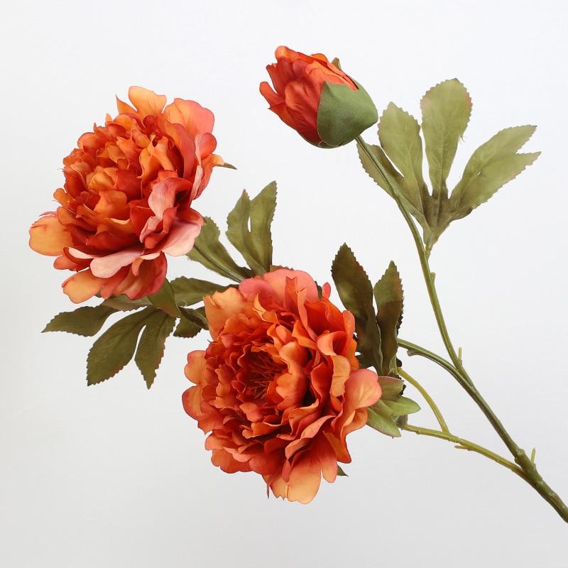 Роскошная роза, пион, ветка, шелковые искусственные цветы для украшения стола на Рождество, свадебные осенние украшения, цветочные цветы, ис...