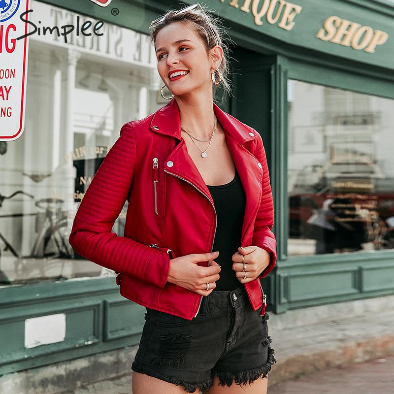 Simplee Women quilted faux   leather   jackets Autumn winter motorcycle bomber PU jacket Female black zipper outerwear coats 2019New