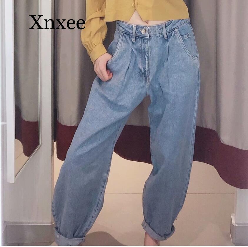 Denim Pants Women High Waist Harem Pants 20Loose Jeans Loose Trousers Women Casual Streetwear Pantalon Femme Blue Pants