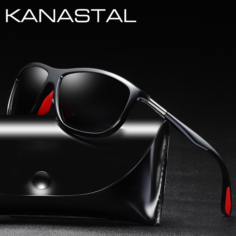 Black Square Frame Polarized Sunglasses Driving Mens Designer Retro Eyewear HU