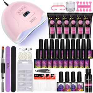 Poly Nail Gel Kit With 48W/80W UV Lamp Gel Varnish Polygel Quick Kit Semi Permanent Professional Extension Tool Kit For Manicure