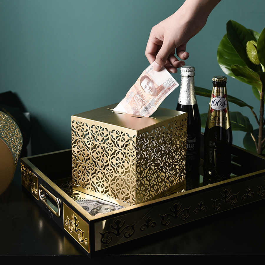 特大ノベルティ金属貯金箱大パーソナライズ貯金箱銀行紙幣メタルマネーマネー収集ボックス II50CQG