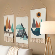 Home Boho Decor Macrame  Cotton Tassel Handmade Woven Wall Hanging Tapestry geometric canvas wall Art background cloth tapestry