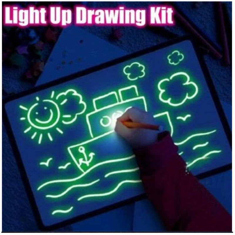 Draw With Night Light In Dark Children Funny Toys Writing Magic Drawing Board Set Educational Russian Language Noctilucent Kids