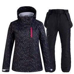 Traje de nieve blanco y negro para mujer ropa de Snowboard ropa impermeable a prueba de viento trajes de esquí al aire libre chaqueta y Baberos pantalones de nieve